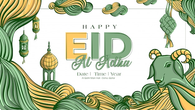 Hand drawn illustration of eid al adha or qurban days greeting  concept
