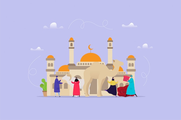 Hand drawn illustration of eid al adha