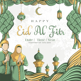 Hand drawn illustration of eid al fitr greeting card concept