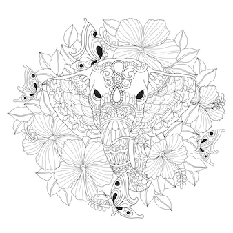 Hand drawn illustration of elephant and flower