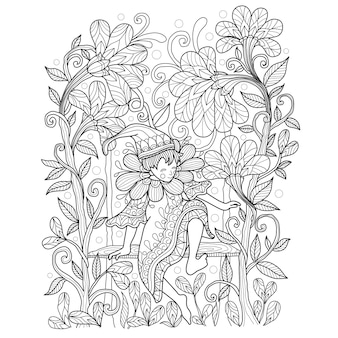 Hand drawn illustration of elf in the garden