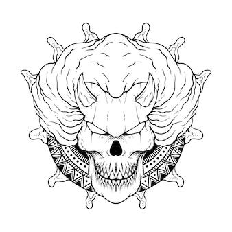 Hand drawn illustration of evil clown line art black and white