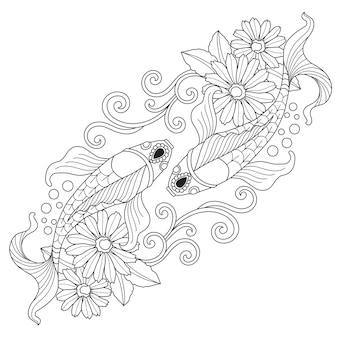 Hand drawn illustration of fish in zentangle style