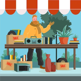 Блошиный рынок рисованной иллюстрации