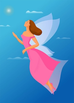 Hand drawn illustration, flying girl with wings