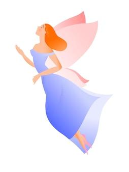 Hand drawn illustration, flying girl