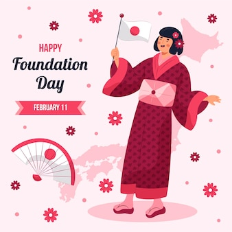 Hand drawn illustration foundation day japan
