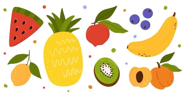 Коллекция рисованной иллюстрации фруктов