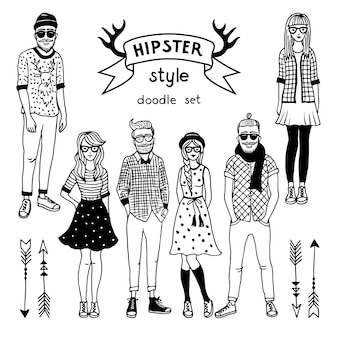 Hand drawn illustration of funky fashioned hipsters characters. happy male and female.