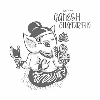 Hand drawn illustration of ganesh chaturthi. line drawing. black and white