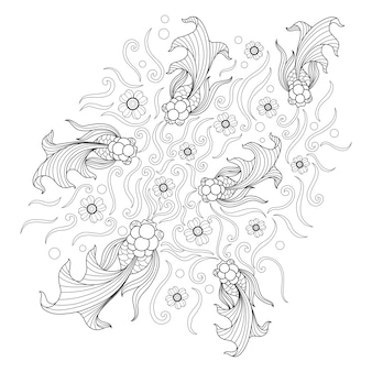 Hand drawn illustration of goldfish in zentangle style
