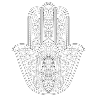 Hand drawn illustration of hamsa, hand of fatima.