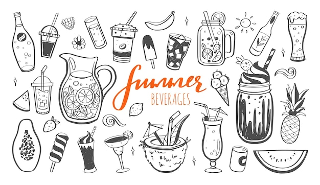 Hand drawn illustration and handwritten calligraphy of cold drinks and summer beverages.