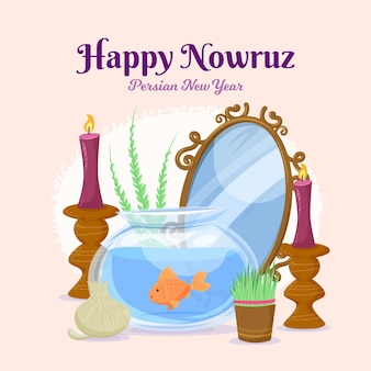 Hand drawn illustration happy nowruz celebration