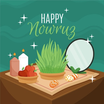 Hand drawn illustration happy nowruz
