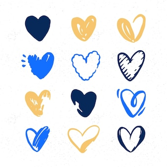 Hand drawn illustration heart collection