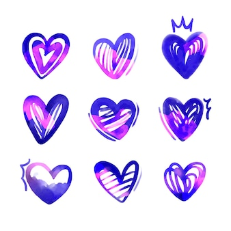 Hand drawn illustration heart set