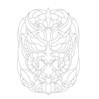 Hand drawn illustration of horror face
