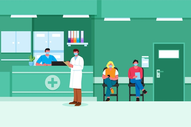 Hand drawn illustration hospital reception scene