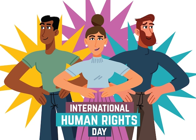 Hand drawn illustration human rights day