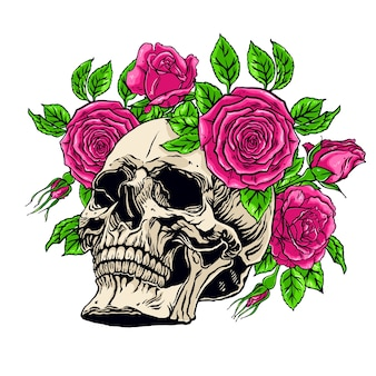 Hand drawn illustration of human skull with a lower jaw and roses wreath