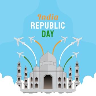Hand drawn illustration of indian republic day. vector illustration