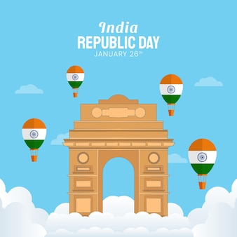 Hand drawn illustration of indian republic day.