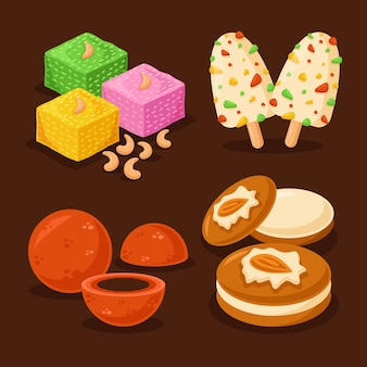 Hand drawn illustration indian sweet collection