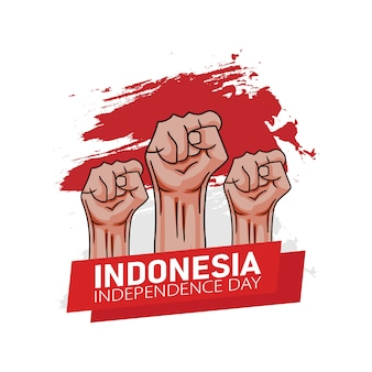 Hand drawn illustration of indonesia independence day greeting card concept.