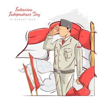 Hand drawn illustration of indonesian independence day