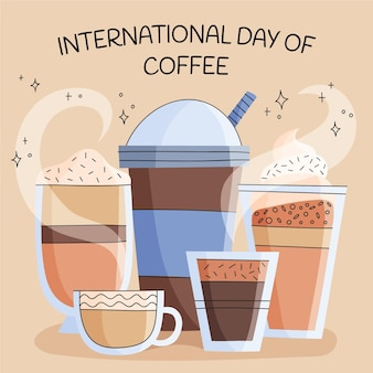 Hand drawn illustration of international day of coffee event