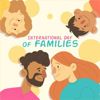 Hand drawn illustration for international day of families with lettering