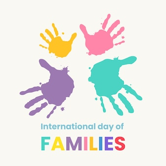 Hand drawn illustration for international day of families with painted hands