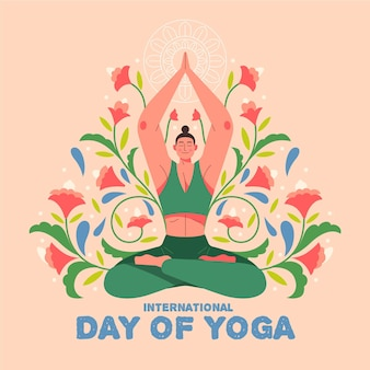 Hand drawn illustration international day of yoga
