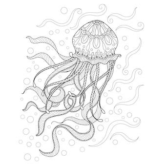 Hand drawn illustration of jellyfish