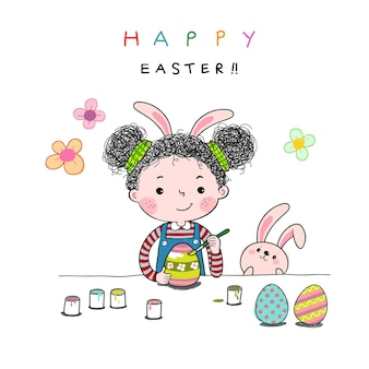 Hand drawn illustration of a little girl painting easter eggs