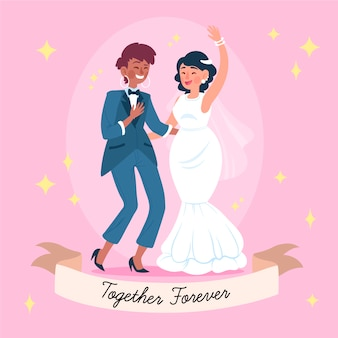 Hand drawn illustration of lovely brides