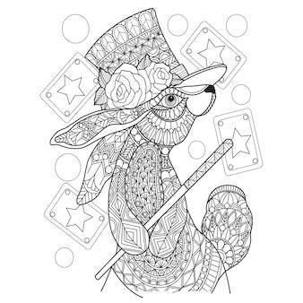 Hand drawn illustration of magic rabbit in zentangle style