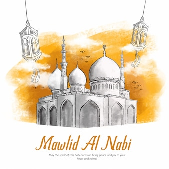 Hand drawn illustration of mawlid al nabi celebration.