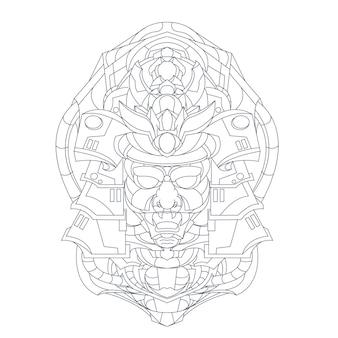 Hand drawn illustration of mecha japan ronin
