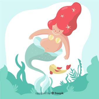 Hand drawn illustration of a mermaid