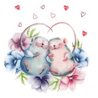 Hand drawn illustration of mice love couple