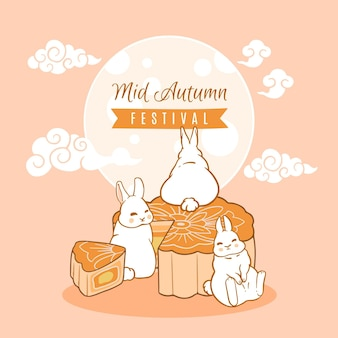 Hand drawn illustration mid-autumn festival