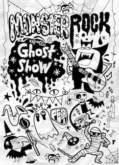 Hand drawn  illustration of monster rock party