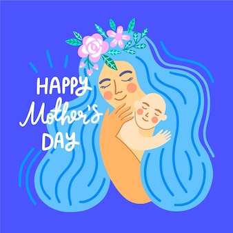 Hand drawn illustration of mother hugging her child