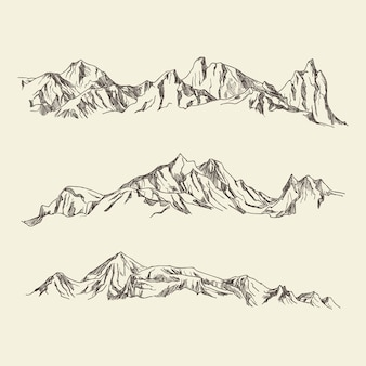 Hand drawn illustration mountains
