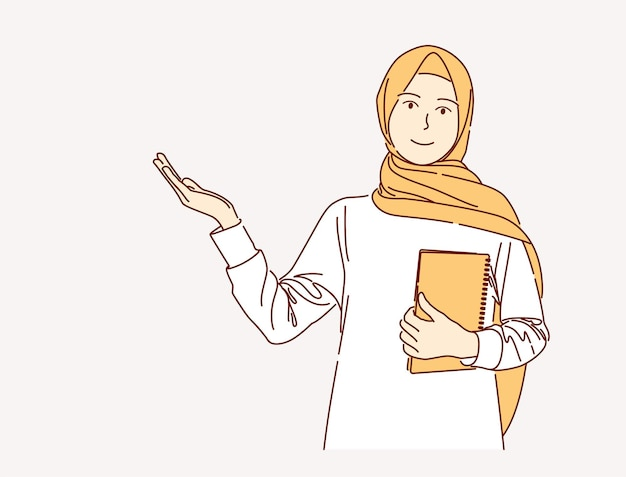 Hand drawn illustration of muslim woman holding book over isolated pink background