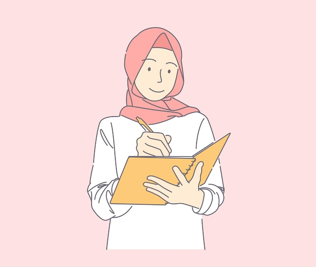 Hand drawn illustration of muslim  woman writing down notes smiling joyfully holding pen and notebook