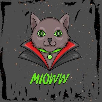ハロウィーンの吸血鬼の衣装を着た猫の手描きイラスト