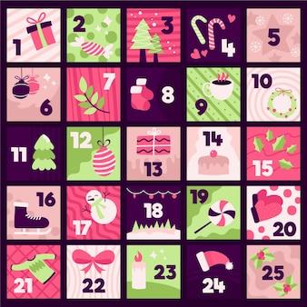 アドベントカレンダーの手描きイラスト